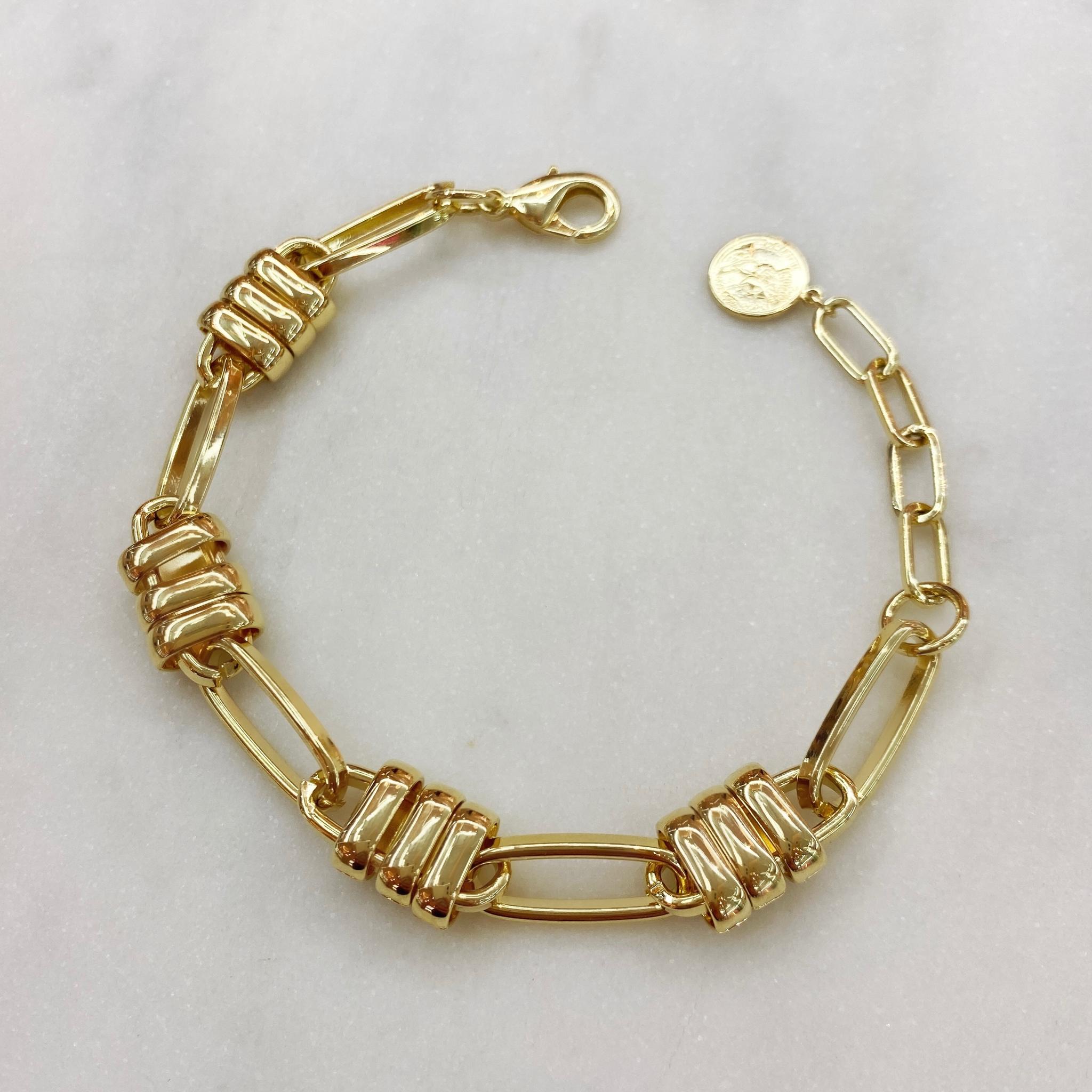 Браслет-цепочка со стилизованными замками (золотистый)