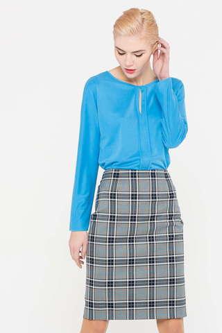Фото голубая блузка с вертикальным вырезом на груди - Блуза Г684-757 (1)