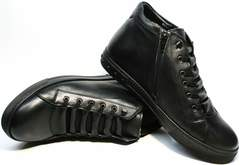 Теплые ботинки на зиму мужские кожаные Ridge 6051 X-16Black