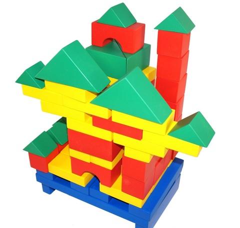 Деревянный конструктор Строитель настольный - 74 элемента