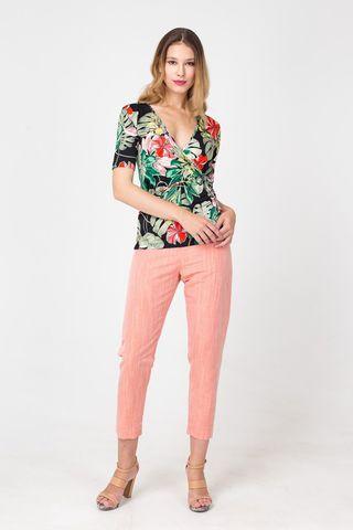 Фото укороченные брюки нежно-розового цвета с преобладанием льна - Брюки А485-166 (1)
