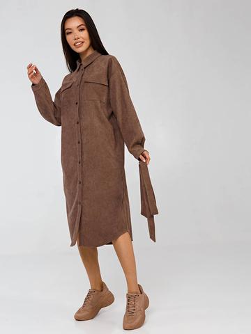Платье-рубашка коричневое из вельвета в рубчик YOS