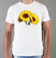 Футболка с принтом Цветы (Подсолнухи) белая 004