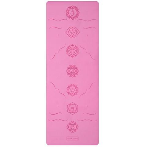 Каучуковый йога коврик Chakras Pink c разметкой 185*68*4,5 см