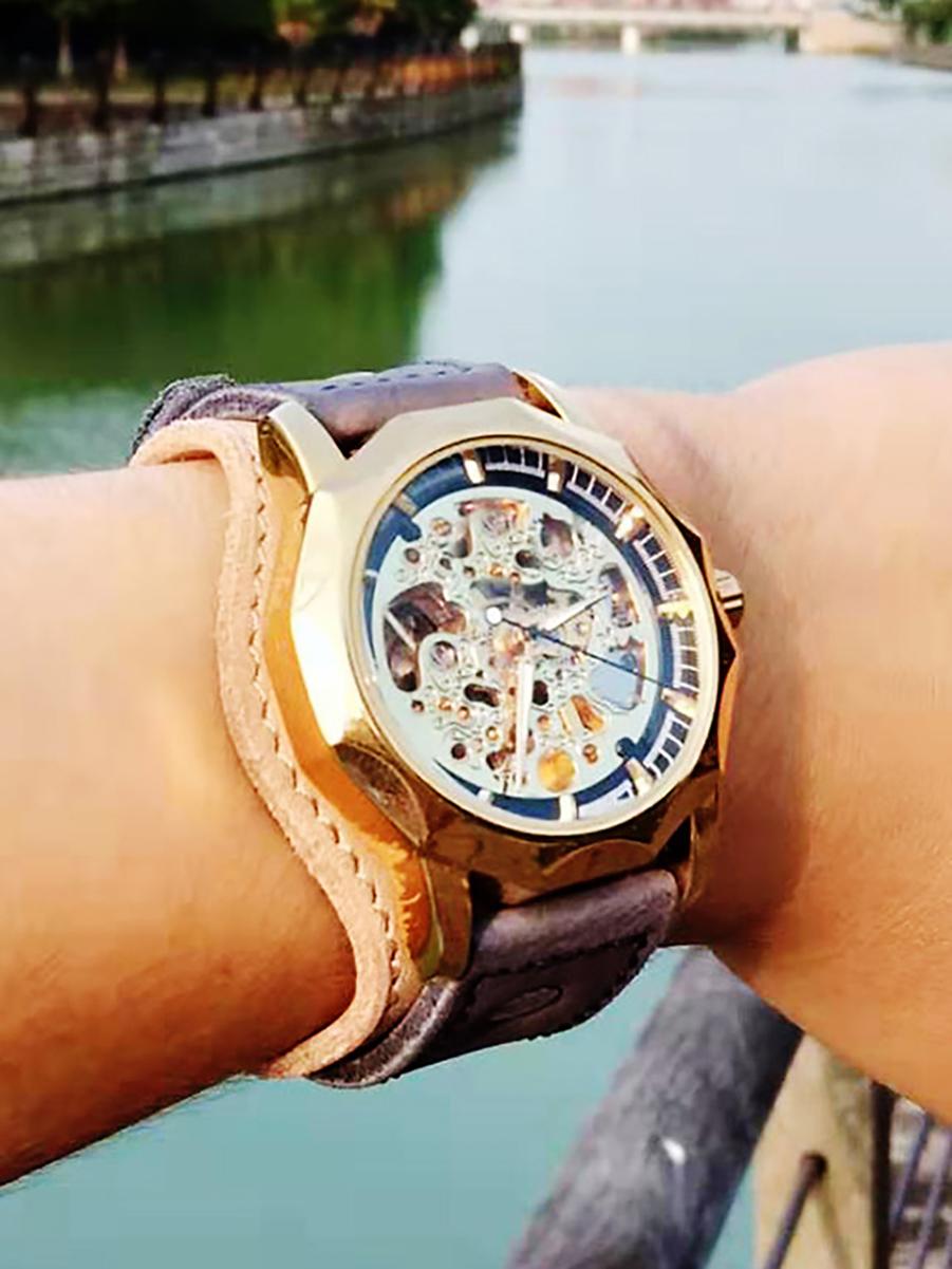 Часы скелетоны мужские механические Elegant YOURTIME