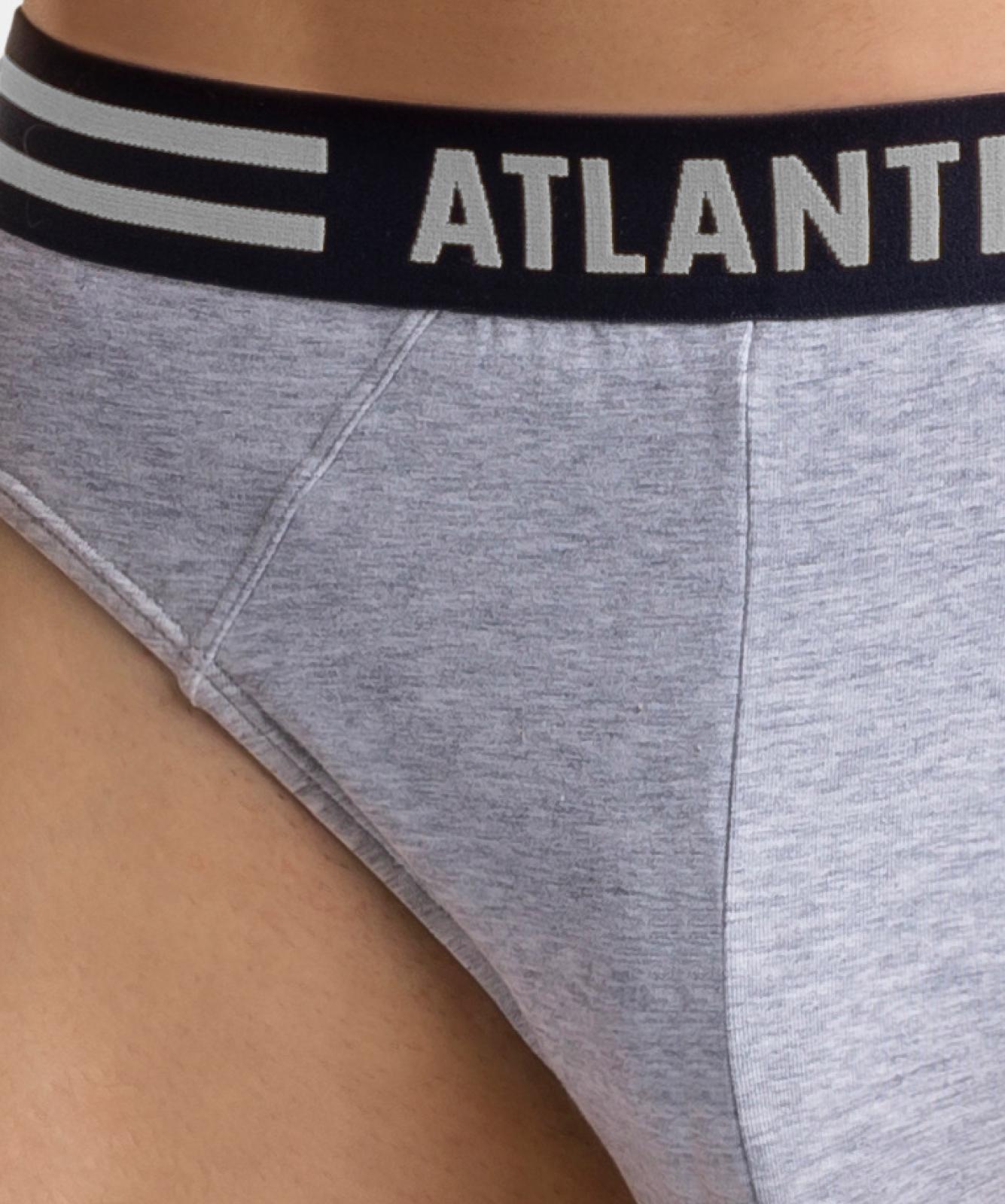 Мужские трусы слипы спорт Atlantic, набор 3 шт., хлопок, голубые + серый меланж + темно-синие, 3MP-098