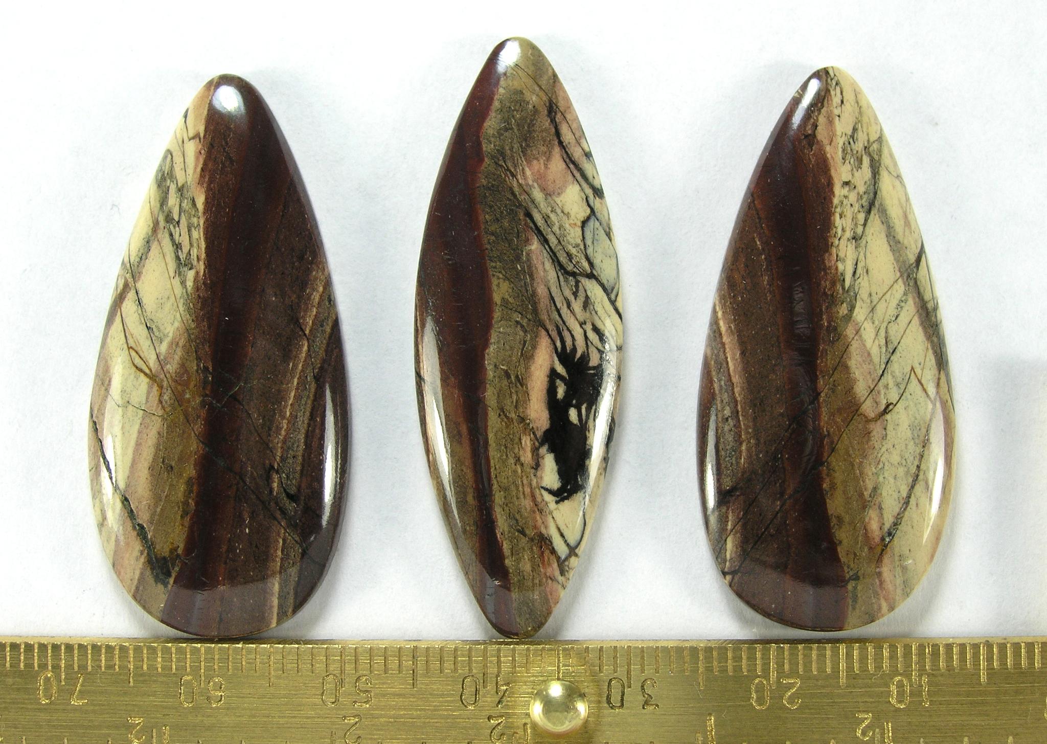 Комплект кабошонов яшмы калиновской 40x18x4 - 2 шт., 43x15x3 - 1 шт.