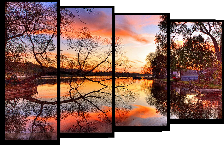 """Природа Модульная картина """"Отражение неба"""" М327.png"""