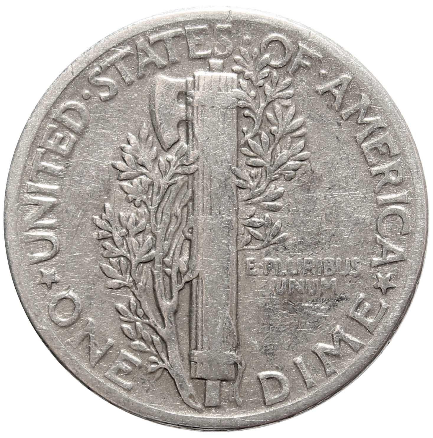 1 дайм (10 центов) 1944. США VF (Меркурий) Серебро