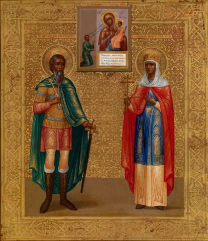 Икона святые княгиня Ольга и Андрей Стратилат на дереве на левкасе мастерская Иконный Дом