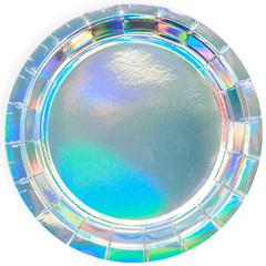 Тарелки (7''/18 см) Перламутровый блеск, Серебро, Голография, 6 шт.