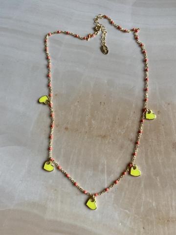 Колье Лавуа, желтая и оранжевая эмаль