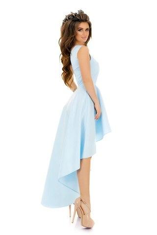 Асимметричное атласное платье на одно плечо, голубого цвета 2