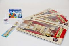 Комплект мебели для гостиной, ванной и каминной комнат с набором для раскрашивания и клеем