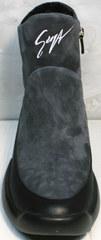 Зимние сникерсы ботинки женские натуральная кожа Jina 7195 Leather Black-Gray