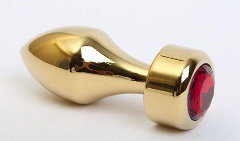 Золотистая анальная пробка с широким основанием и красным кристаллом - 7,8 см.