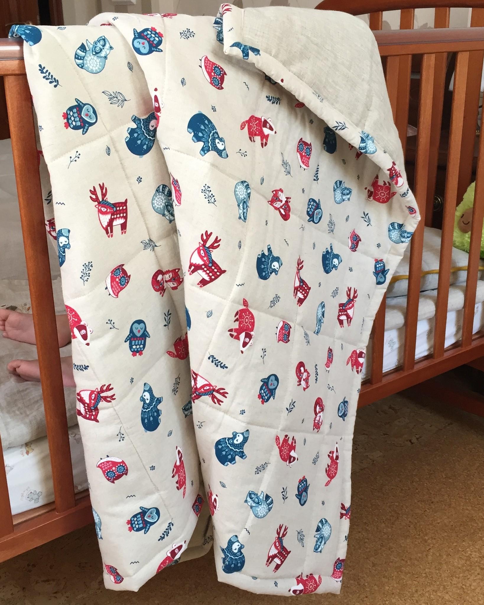 Ребятам о зверятах. Льняное стёганое детское одеяло с принтом 110*140