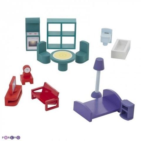 Деревянный кукольный домик Paremo Анастасия с 15 предметами мебели PD115