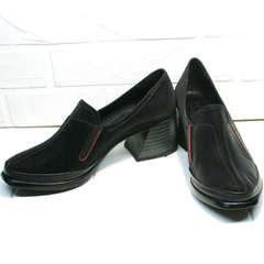 Удобные женские туфли на невысоком каблуке 6 см демисезонные H&G BEM 167 10B-Black.