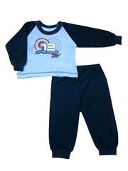 Пижама махровая для мальчика голубая с синим
