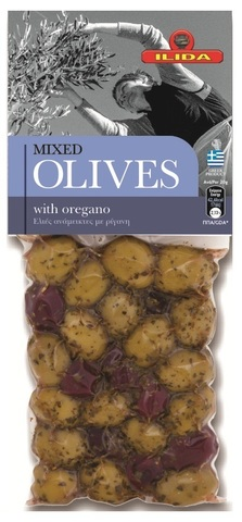 Оливки микс с орегано OLIVES с косточкой 150 гр