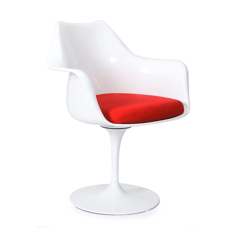 Стул Eero Saarinen Style Tulip Armchair красная подушка - вид 1