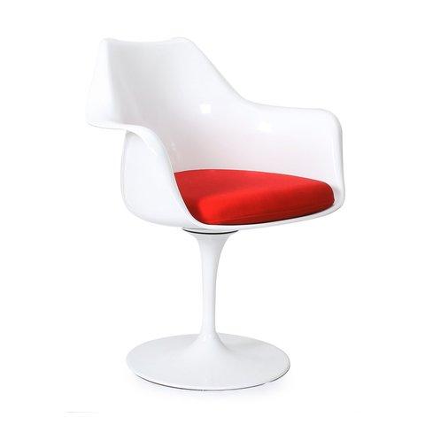 Стул Eero Saarinen Style Tulip Armchair красная подушка