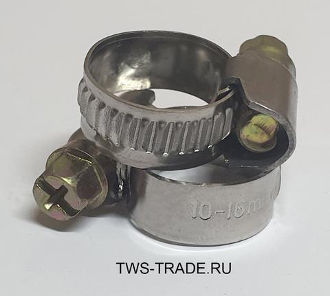 Хомут червячный 10-16мм W2 (нержавеющая сталь)