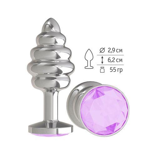 Серебристая спиралевидная анальная пробка с сиреневым кристаллом - 7 см.