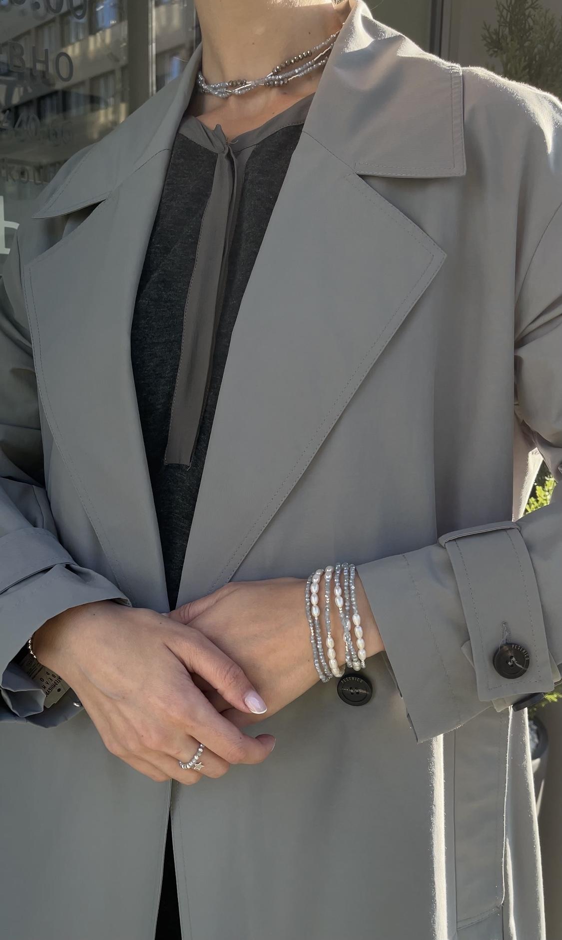 Браслет из голубого хрусталя с речным жемчугом и серебром  оптом и в розницу
