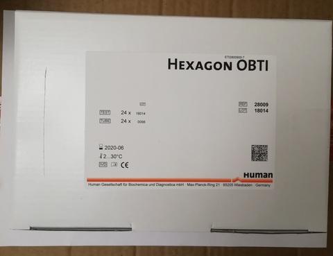 Набор реагентов для экспресс определения invitro скрытой крови в кале (Hexagon OBTI), 24 теста Human GmbH, Германия