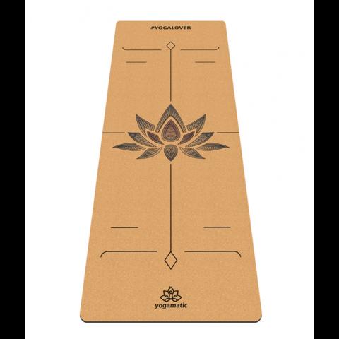 Пробковый йога коврик Lotos 183*66*0,4 см c разметкой