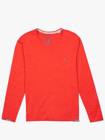 Long-sleeved V-neck scarlet t-shirt