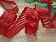 Лента органза с атласными полосками красная ширина 25 мм