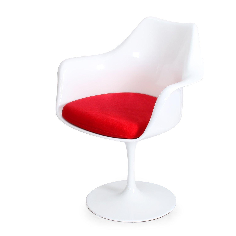 Стул Eero Saarinen Style Tulip Armchair красная подушка - вид 5