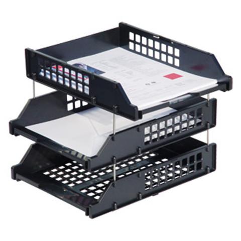Лотки для бумаг горизонтальные Стамм Strong 3 штуки на металлических стержнях черные