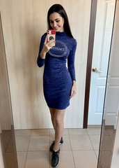 Лана. Повсякденне тепле плаття гольф. Синій