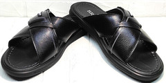 Красивые шлепанцы босоножки кожа мужские Brionis 155LB-7286 Leather Black.