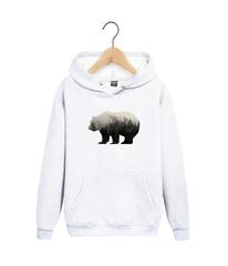 Толстовка белая с капюшоном (худи, кенгуру) 0012 и принтом Медведь, Медвежонок (Bear)