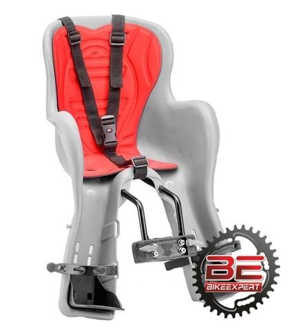 Детское велокресло KiKi Deluxe на раму серое