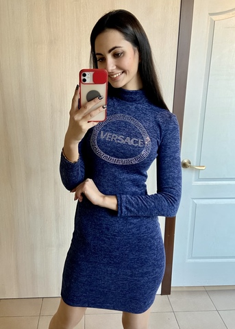 Лана. Повседневное тёплое платье гольф. Синий