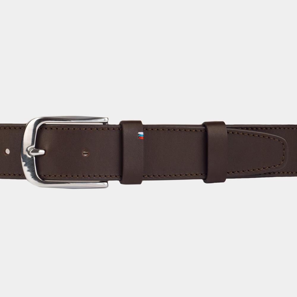 Ремень мужской кожаный из теленка темно-коричневого цвета для джинсов ширина 40мм пряжка Сталь