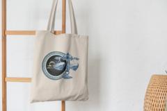 Сумка-шоппер с принтом Знаки Зодиака, Весы (Гороскоп, horoscope) бежевая 001