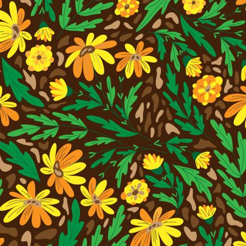 Летний цветочный принт. Стилизованная календула
