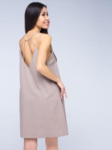 Платье бежевое льняное с открытой спинкой мини