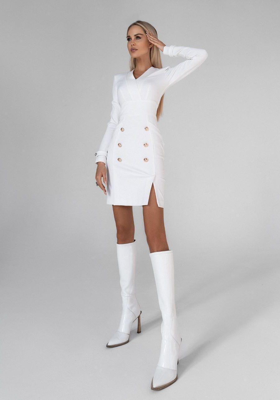 Платье белое  с золотыми пуговицами