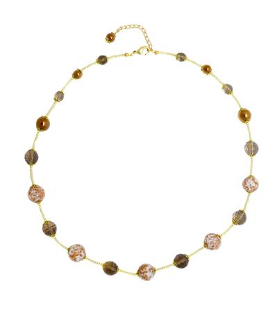 Удлинённое белое классическое ожерелье из муранского стекла с крупными бусинами
