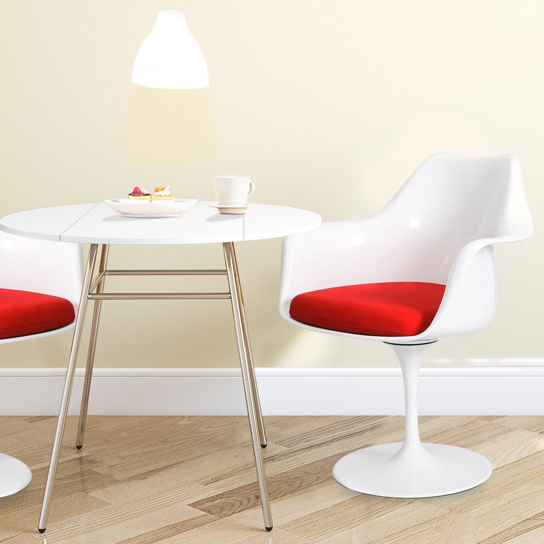 Стул Eero Saarinen Style Tulip Armchair красная подушка - вид 2