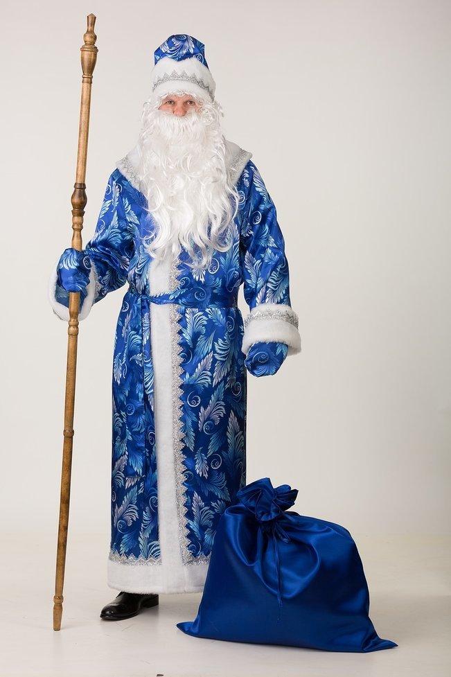 Новогодний костюм Дед Мороз  синий сатин