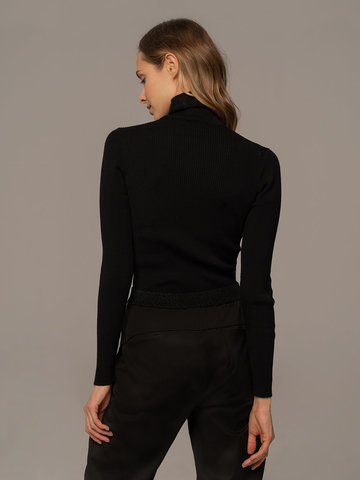 Женская водолазка черного цвета из 100% шерсти - фото 4